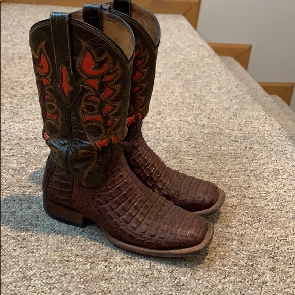 fd69d25f006 Resistol Hornback Caiman Boots with Orange Inlay